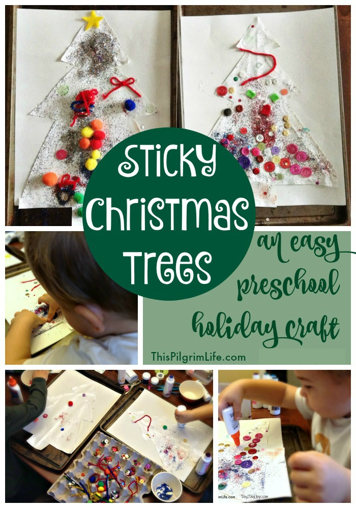 Making sticky Christmas trees is a fun holiday craft for your preschooler! Use supplies you have on hand and let your child have fun decorating the tree!