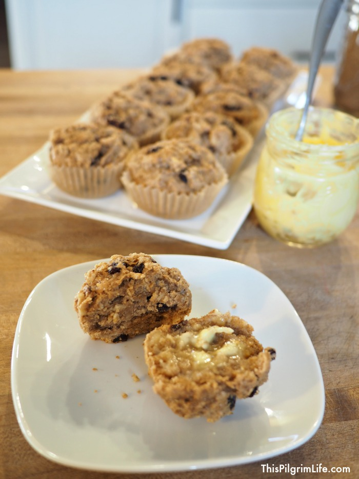 These naturally sweetened raisin, date, and walnut muffins are packed with goodness and make a perfect snack or breakfast!