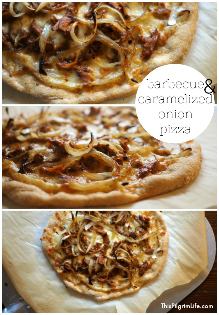 Delicious homemade pizza topped with sweet onions and tangy barbecue chicken!