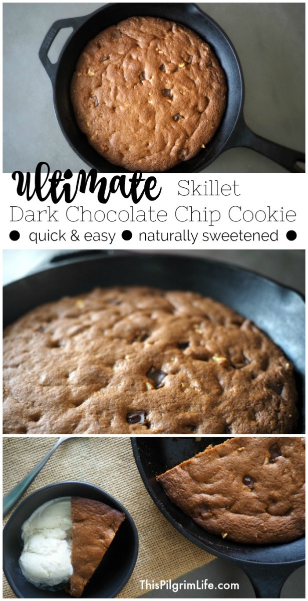 You can use your skillet to make delicious dark chocolate chip cookies! These cookies are naturally sweetened and quicker and easier than using baking sheets!