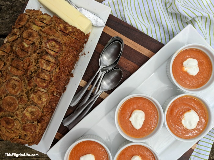 carrot soup and banana bread