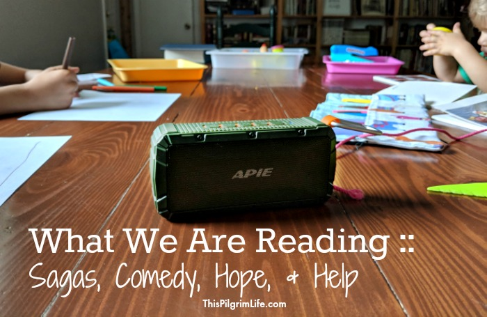 We LOVE audiobooks as a family! Here is what we are reading/listening to right now-- from sagas to comedic relief to parenting hope and help.