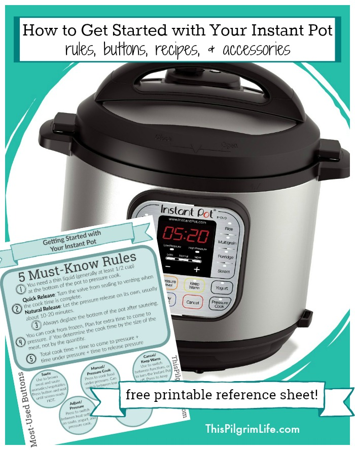 Figuring out how to get started with your Instant Pot can be intimidating-- which is why many people just leave it in the box! This easy-to-follow beginners Instant Pot guide will help you understand all those buttons, learn the most important rules about pressure cooking, give you five EASY recipes to try first, and more.