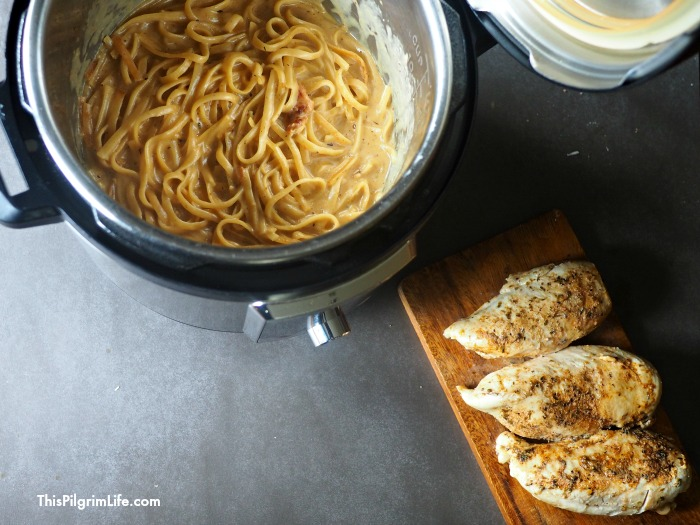 Juicy blackened chicken breasts, silky fettuccine noodles, and a perfect creamy Alfredo sauce-- all made in the Instant Pot! This lighter Instant Pot fettuccine Alfredo takes a favorite Italian dish and makes it easy and healthy enough for a weeknight meal!