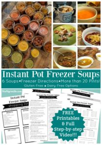 Spend an afternoon making Instant Pot freezer soups and you will reap the benefits for weeks and weeks! These soups are so easy to prepare in the Instant Pot, and then can be frozen right in canning jars. Get six soup recipes that are perfect in the freezer, several FREE printables, and a full step-by-step video!