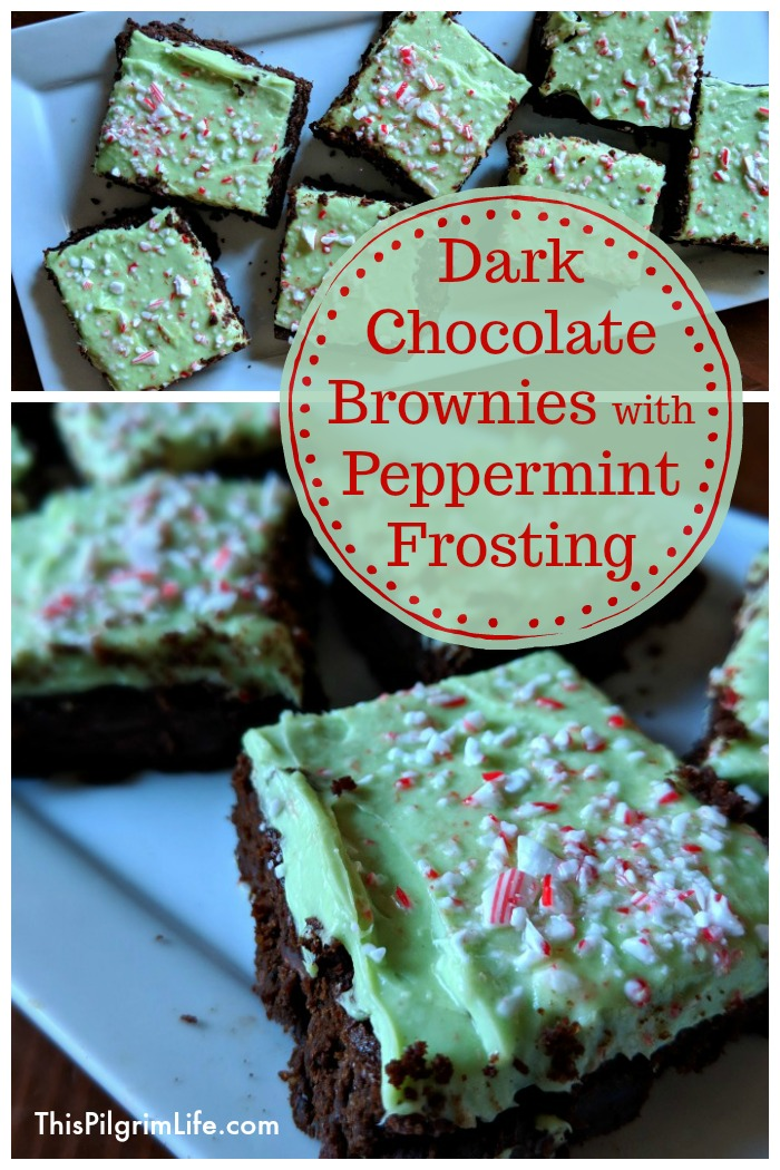 Dark Chocolate Brownies with Peppermint Icing