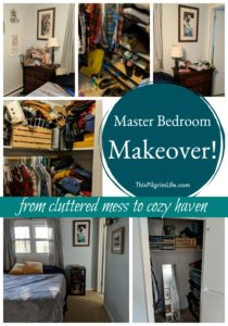 Our master bedroom was out of control with clutter and too much stuff! I did a master bedroom makeover last week, and the change is amazing! Our closet especially is like a whole new room!