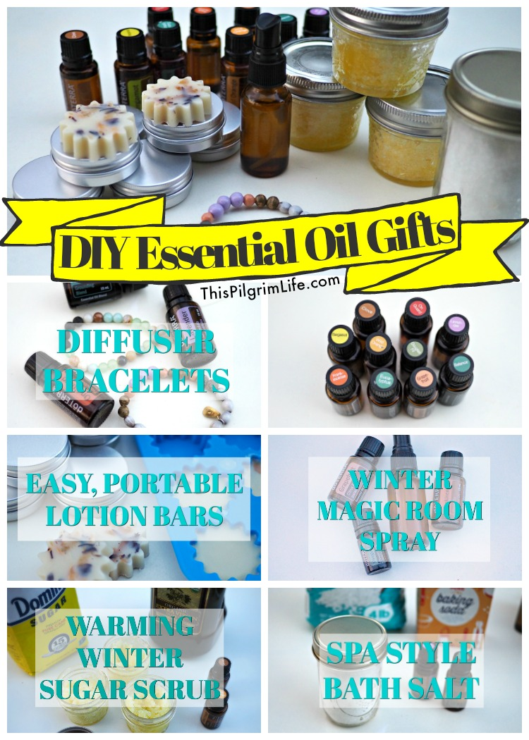 Five quick and easy DIY essential oil gifts you can make and give using common ingredients and high-quality oils!  #essentialoils #diy #handmadegifts #gifts
