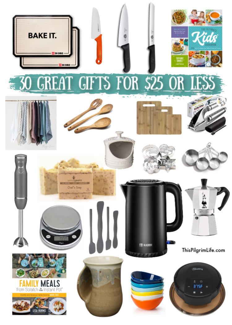 30 kitchen gift ideas for everyone on your list-- the bakers, the home chefs, the kid cooks, and even those who just like their kitchen to look nice without worrying too much about function-- all for $25 or less!