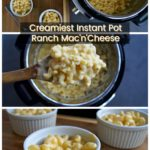 This Instant Pot mac'n'cheese is SO easy to make and is perfectly creamy! The ranch gives it a delicious pop of flavor! (Use your favorite ranch dressing or homemade if possible. This is the best EVER homemade ranch!)