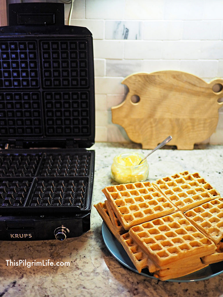 Perfect homemade waffles from scratch, ready for a delicious Saturday morning breakfast! These waffles are easy to prepare and high in protein, fiber, and vitamins.