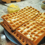 Perfect homemade waffles from scratch, ready for a delicious Saturday morning breakfast!