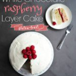 This white chocolate raspberry cake is decadent without being overwhelming. The frosting is light and subtly sweet. The cake is perfect AND gluten-free (no one will ever know). And the layer of sweet raspberry jam ties everything all together with a little red bow.