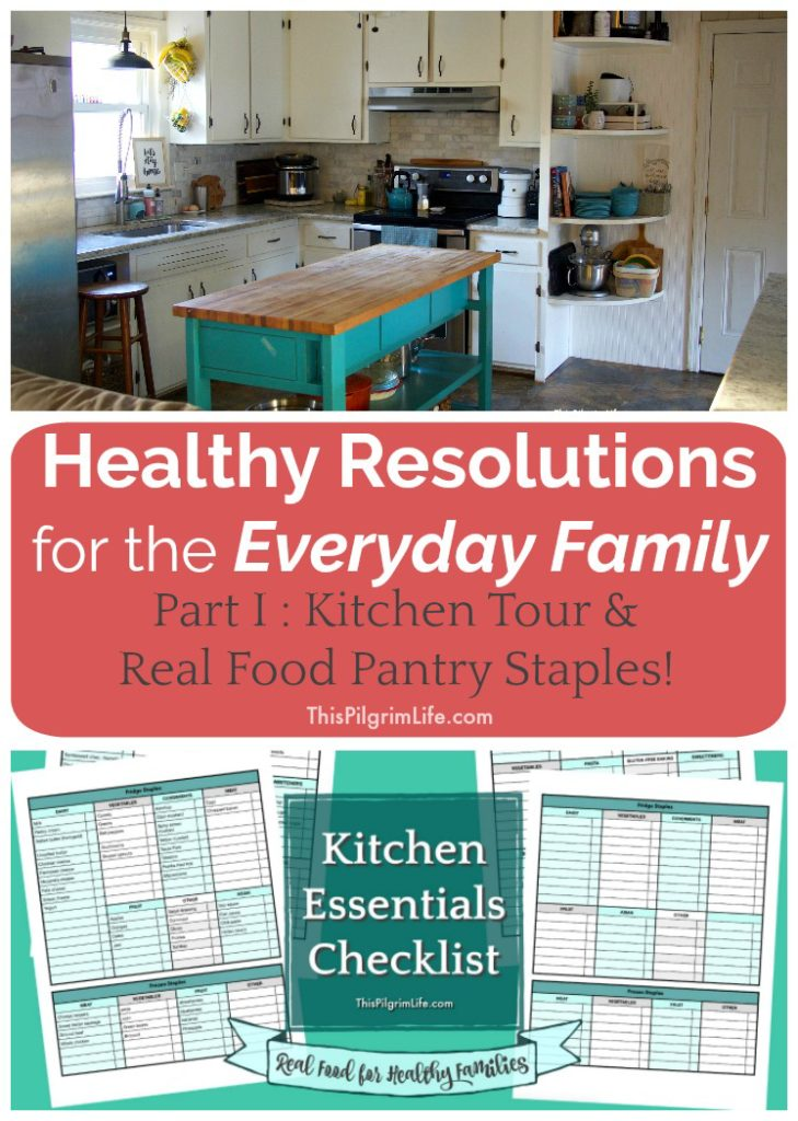 I'm taking you through a tour of my kitchen today. All the details about appliances, storage, organization, and my favorite real food pantry essentials for healthy eating in the midst of a full and busy family life. Plus, get two free printable kitchen essentials checklists to help you keep your pantry stocked with your favorites!