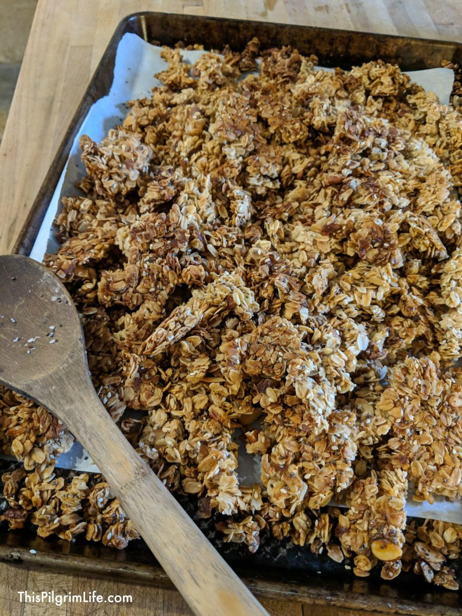 Homemade granola is so easy to make and is so tasty on your breakfast yogurt or for snacking during the day!