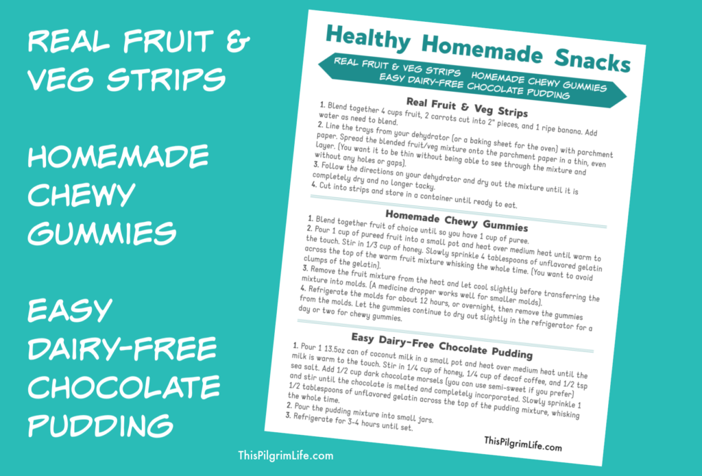 Continuing on with the healthy resolutions series, I am sharing three EASY homemade snack recipes. Get recipes for homemade fruit strips with fruit and veggies, homemade chewy gummies with just a handful of ingredients, and a quick (dairy-free!) chocolate pudding.