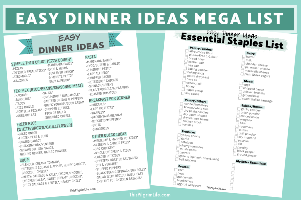 Figuring out what to make for dinner isn't always easy. This mega list of easy dinner ideas is just what you need to get inspired and ready to get a healthy meal on the table in a hurry!