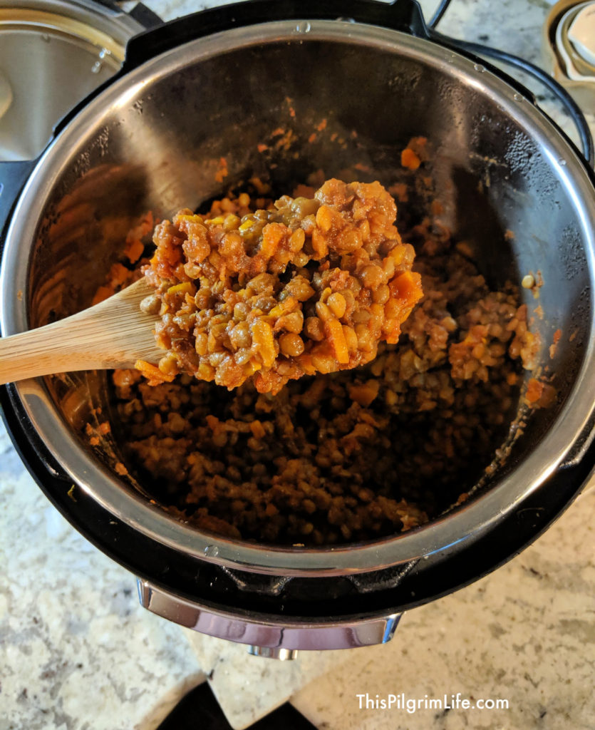 Lentil sloppy joes in the Instant Pot cooked and ready to go!