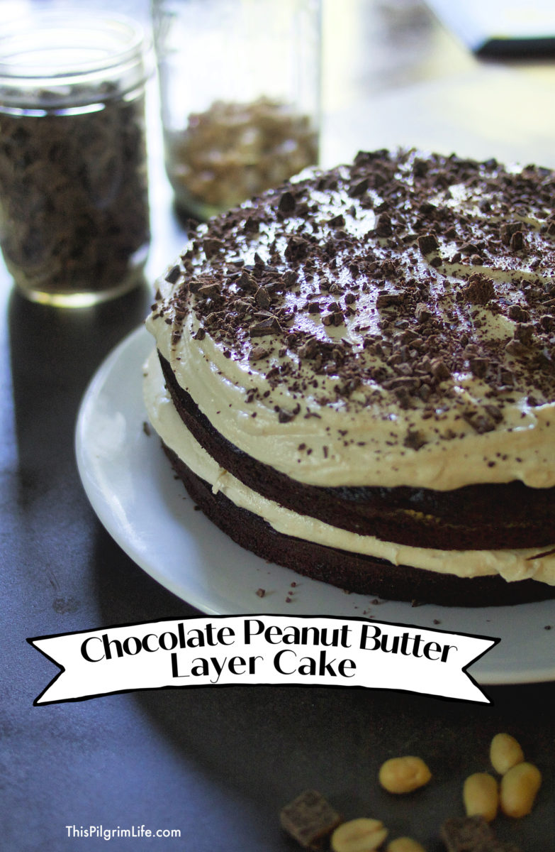 Delicious, from-scratch chocolate cake with peanut butter buttercream icing!