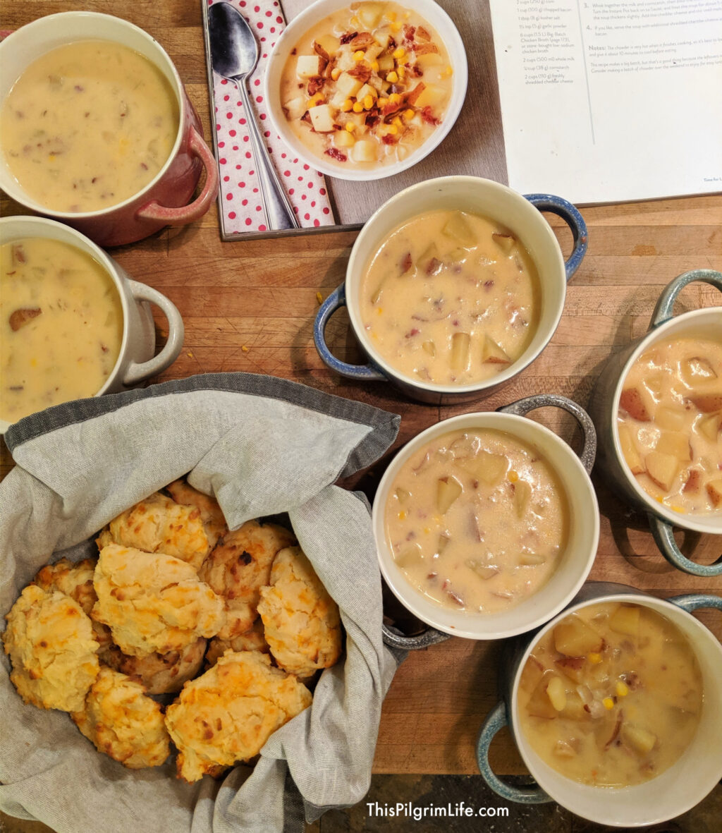 Cheddar garlic biscuits and bowls of loaded potato corn chowder