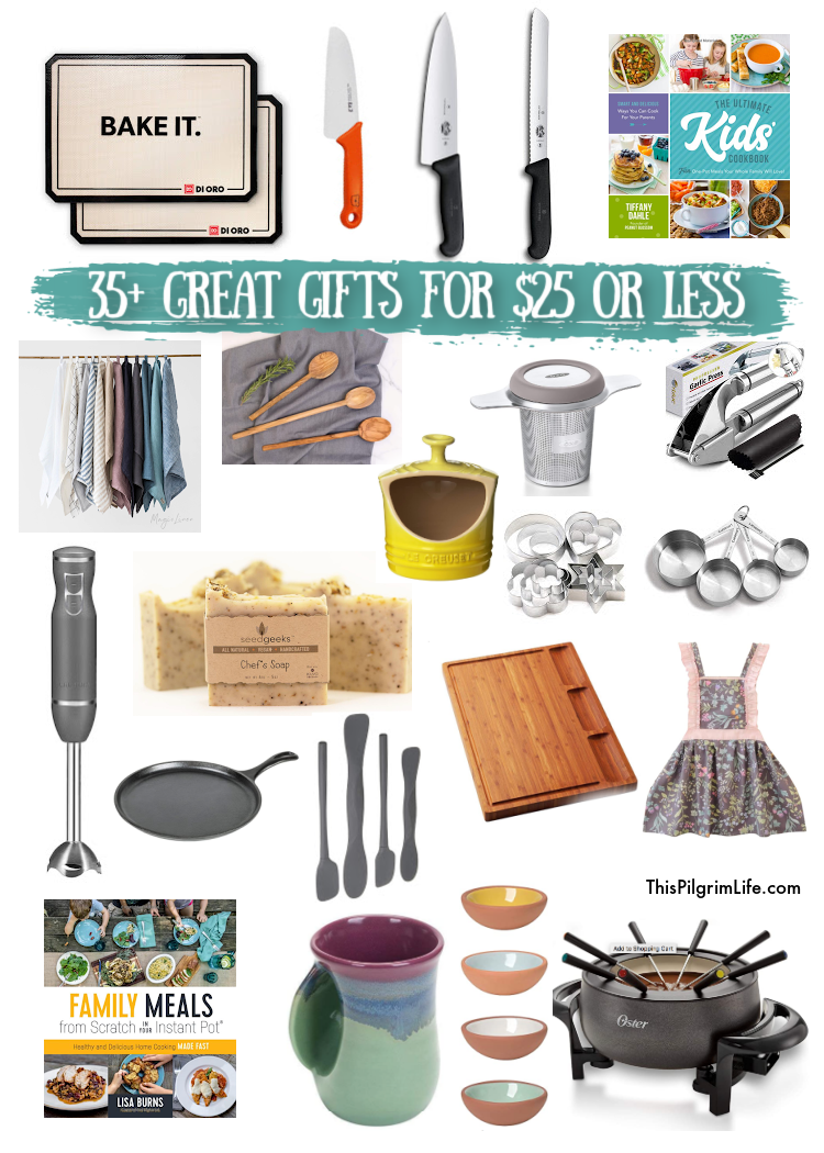 More than 30 kitchen gift ideas for everyone on your list-- the bakers, the home chefs, the kid cooks, and even those who just like their kitchen to look nice without worrying too much about function-- all for $25 or less!