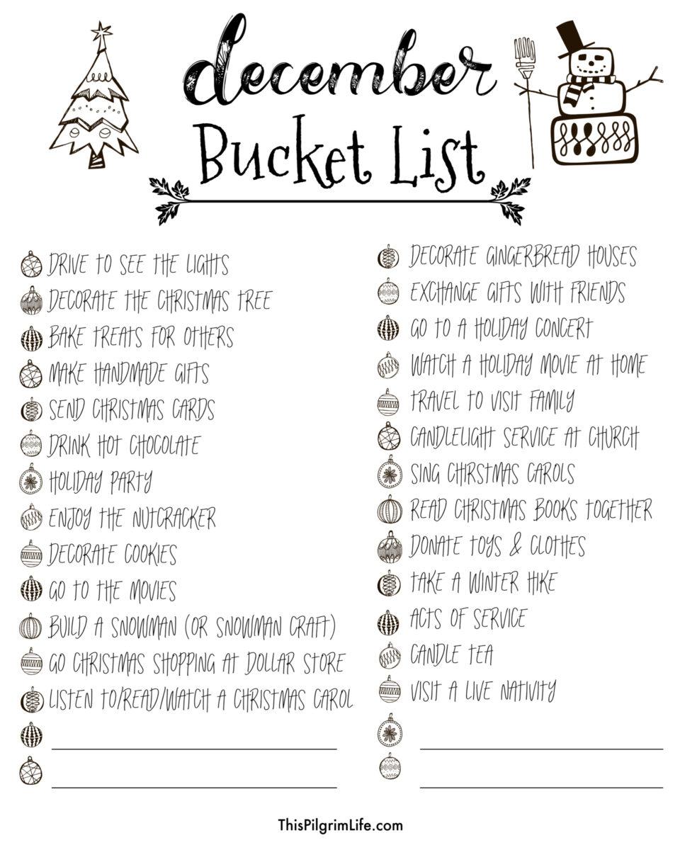 Kids Christmas List 2020 December Bucket List & Kids' Holiday Calendar   This Pilgrim Life