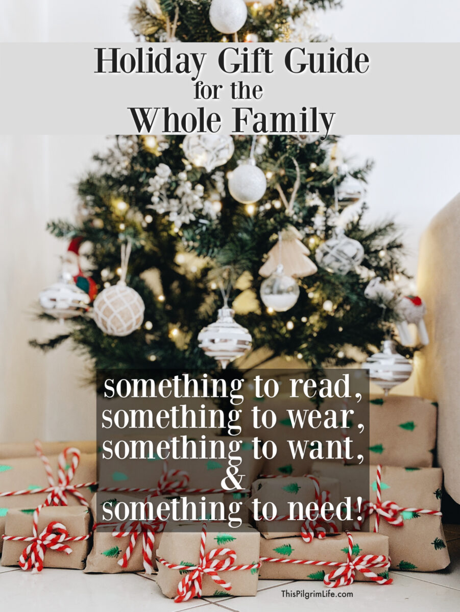 "Here is our annual holiday gift guide for the whole family-- what we have loved and enjoyed this year AND what will be under our tree! Get fresh inspiration for ""what to wear, what to read, what to want, and what to need"" for all your last minute shopping!"