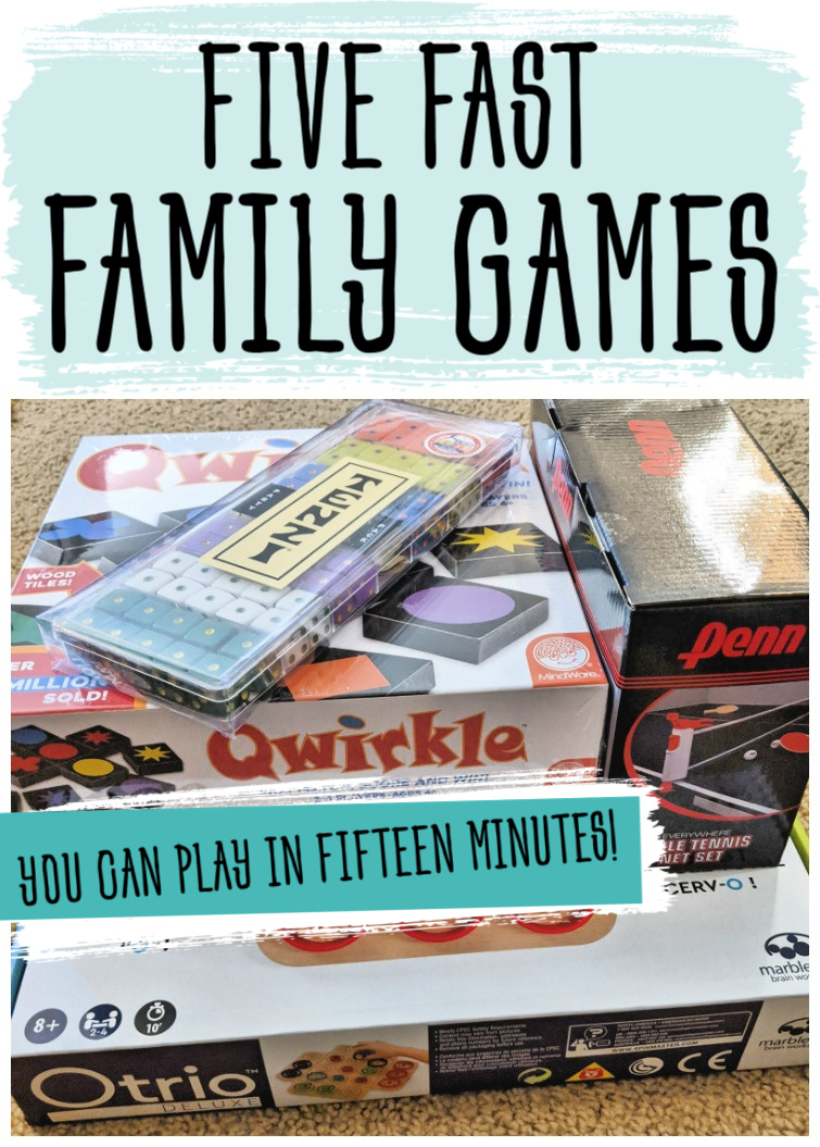 Playing games together is a great way to bond and enjoy quality time...but I don't usually have the time or desire to play games that take hours to finish. These are our favorite family games that require minimal set-up and can be played in just fifteen minutes!