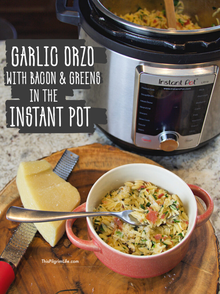 This garlic orzo is so easy in the Instant Pot! It's the perfect quick and easy lunch or comfort-food dinner. We love it with bacon and greens, but the variations are endless!