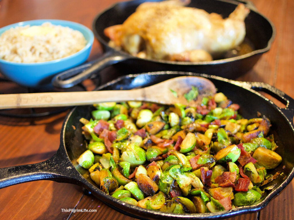 These maple Brussel sprouts and bacon are such a simple but delicious side dish! The Brussels get tender and caramelized in the pan, and the addition of the bacon balances out the slightly sweet maple syrup with the perfect level of saltiness.