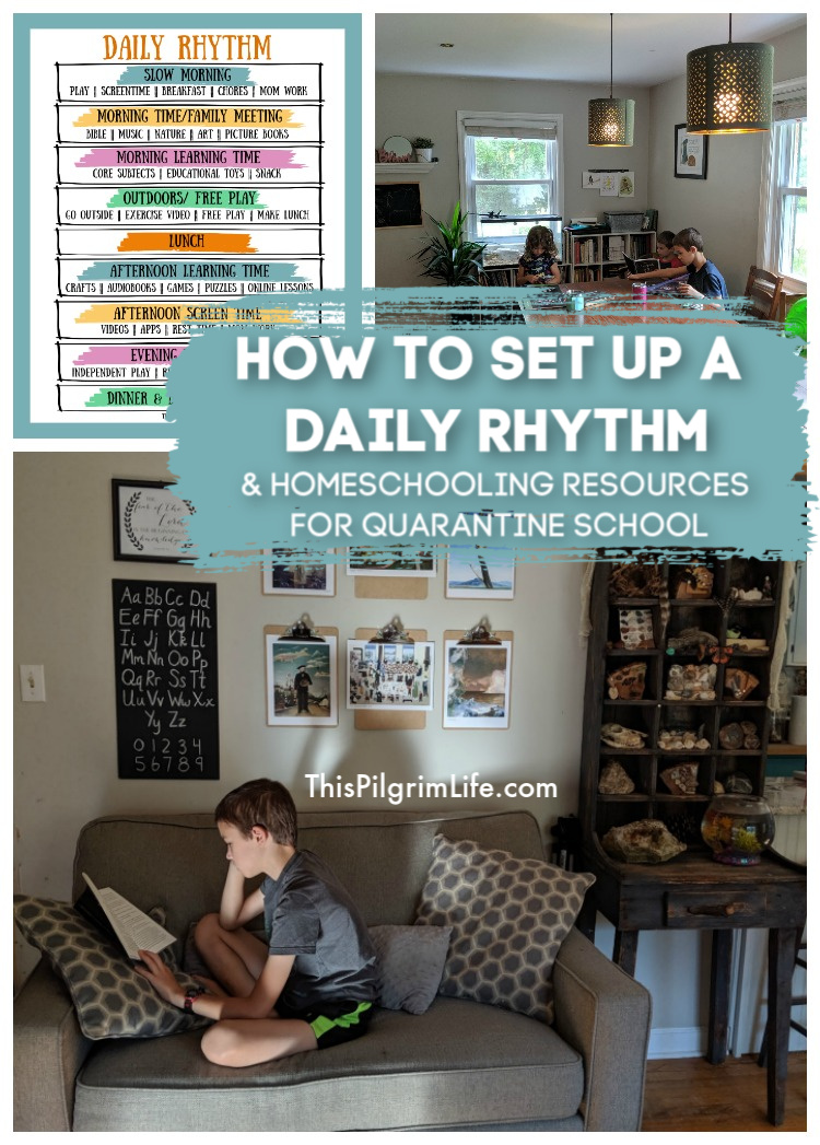Families all over the country are now finding themselves as surprise homeschoolers! Here is how to set up a basic daily rhythm that allows for a great balance of learning time, free play, and even work time for the parents.