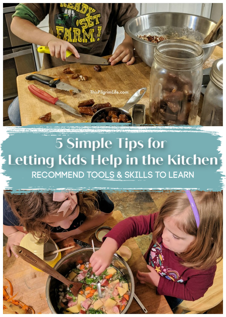 Little kids want to help with cooking and big kids need to learn the skills, but it can be challenging if you're not set up for success! Here are five simple, doable tips for letting your kids help in the kitchen without going crazy, and ideas for skills they can be learning.