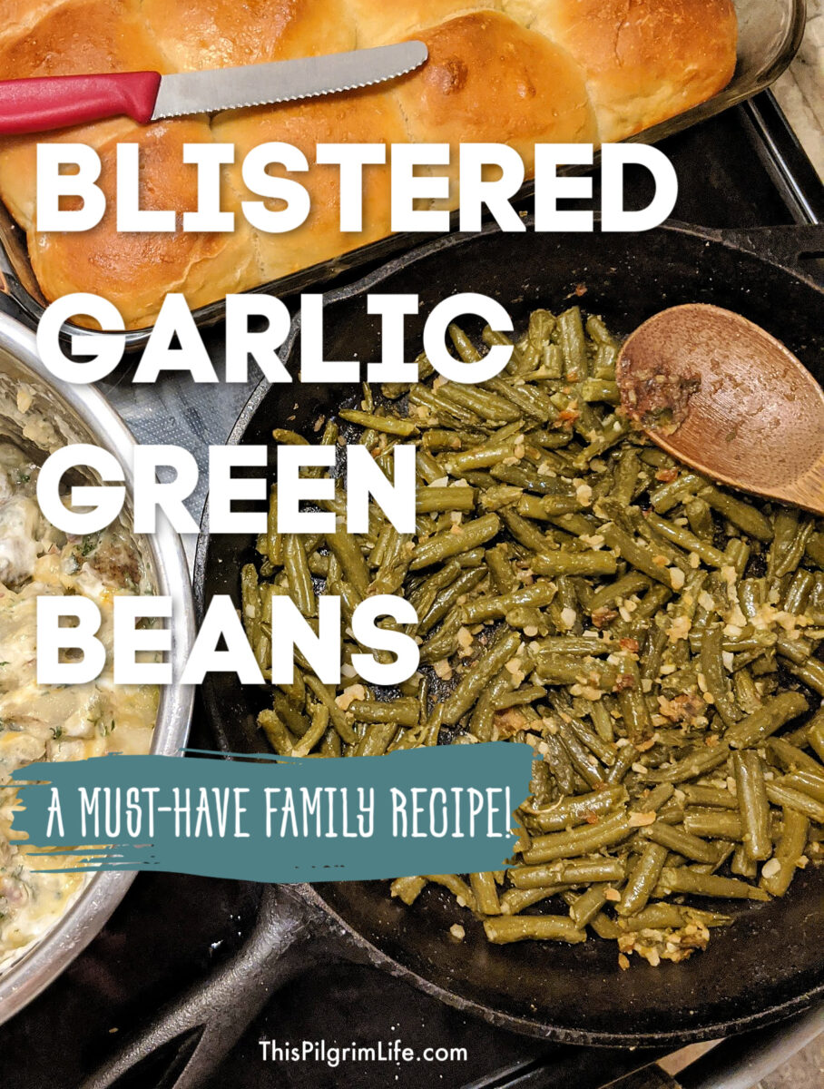These delicious garlic green beans are a must-have family recipe. The beans are blistered and dehydrated in the pan and bursting with garlic flavor!