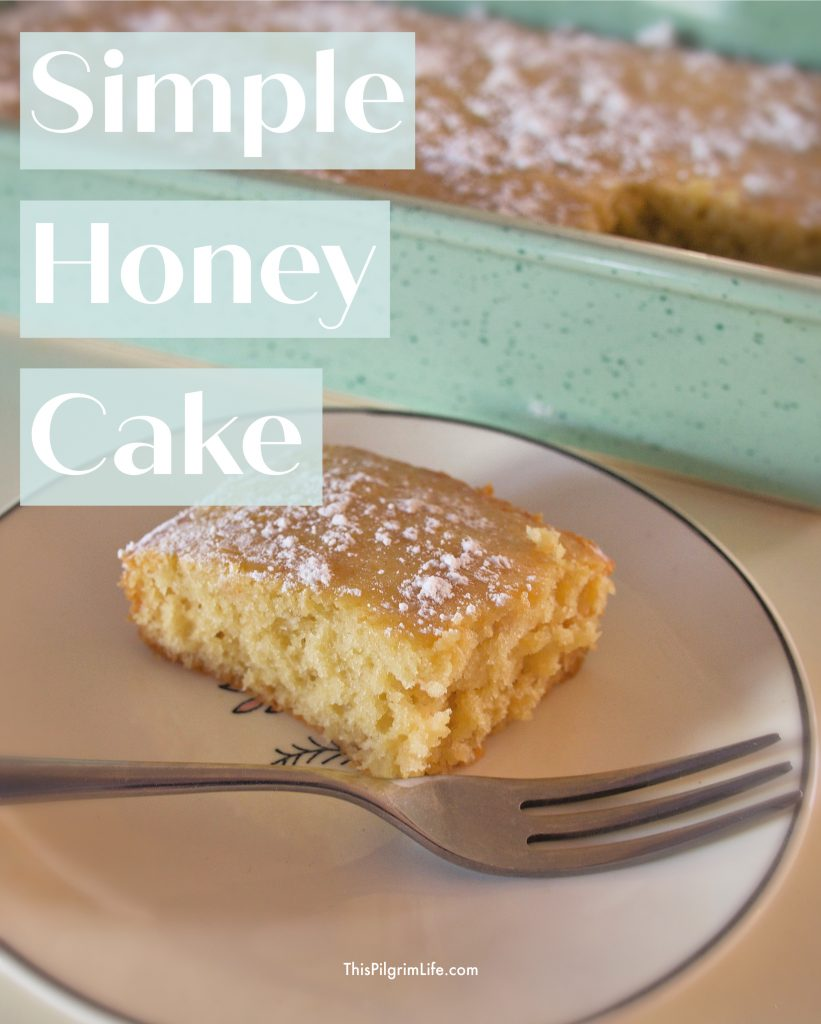 This simple honey cake is so simple to mix together, quick to bake, and has a lovely honey flavor. It's a perfect recipe to bake with your kids and share as an afternoon or morning treat together!