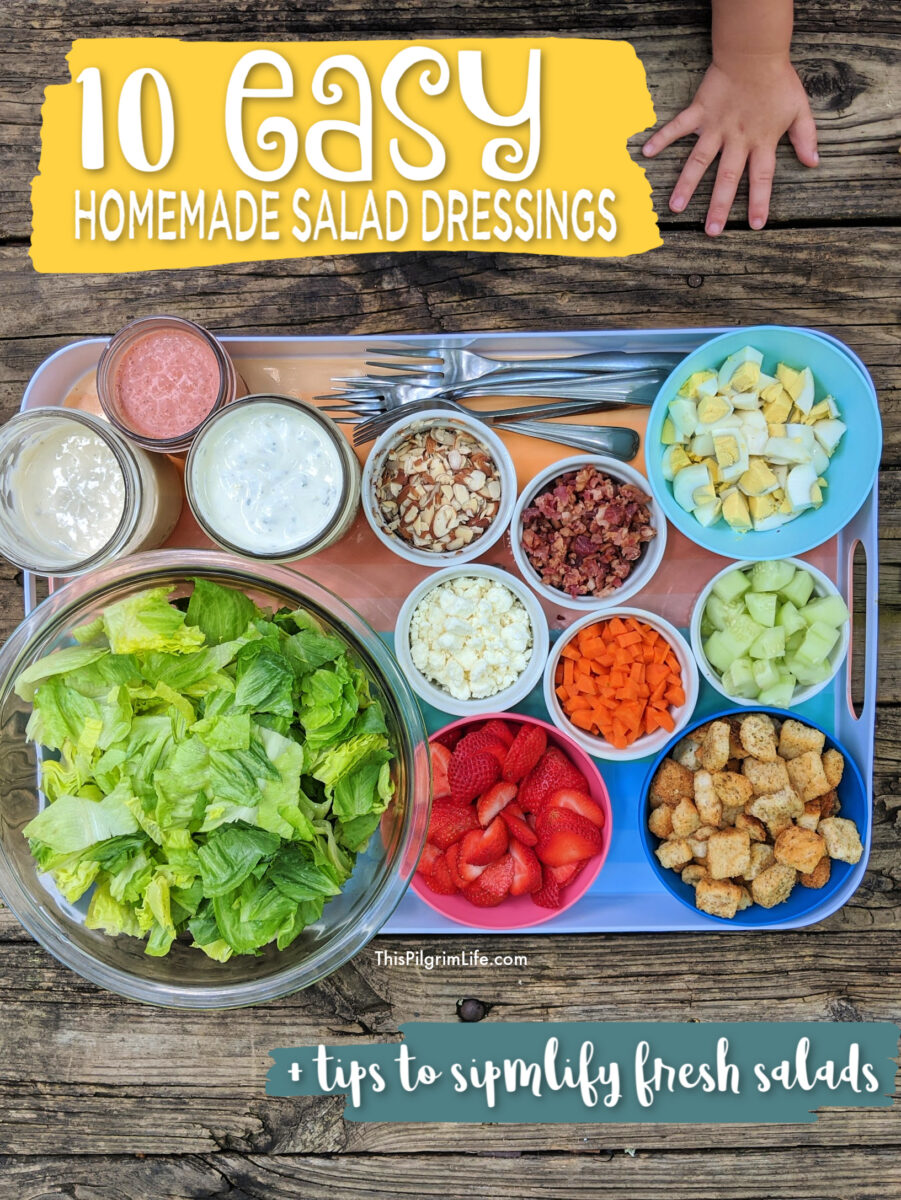 Making your own homemade salad dressings is an EASY and TASTY way to enjoy more salads, reduce sugar consumption, and know exactly what is in your food! The recipes in this collection are simple and delicious, with lots of different flavors to bring fresh inspiration to your salad life.