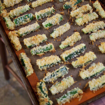 """Roasted Zucchini Spears with """"Secret Sauce"""""""