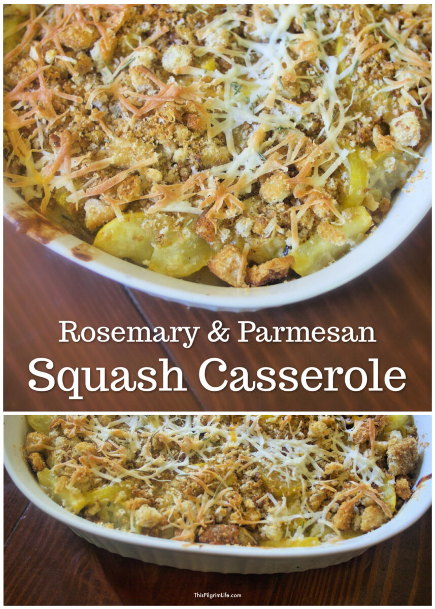 Fresh summer squash is so tasty in this easy squash casserole! Tender squash in a creamy sauce with a crunchy parmesan and rosemary topping-- a delicious twist on a classic dish.