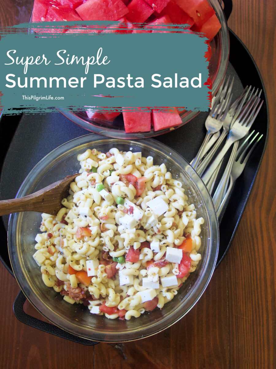 This chill summer pasta salad is perfectly refreshing on a hot day and a tasty way to enjoy fresh summer tomatoes! It's easy to whip up for a quick lunch, a simple addition to a cookout, or great to prep ahead at the beginning of the week and enjoy all week long.
