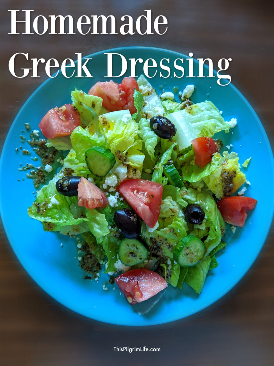This homemade Greek dressing is so easy to throw together, and perfect for a tangy Greek salad!
