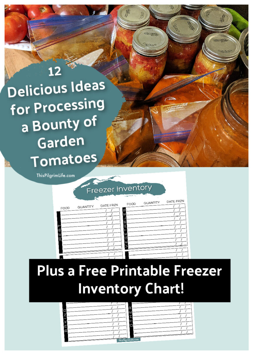 Our tomato plants have gone crazy this summer! Here are twelve ways we're processing and enjoying tomatoes-- for now and later! Plus, get a free printable freezer inventory chart to keep track of all the food you're filling your freezer with right now!