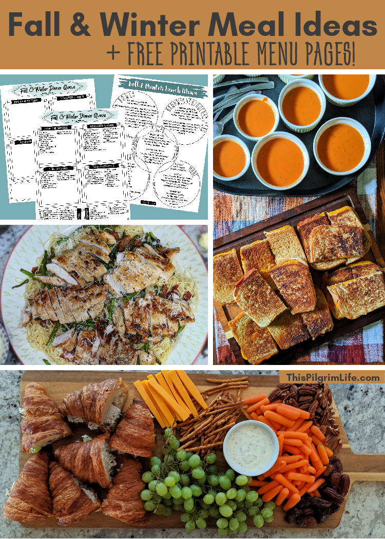 Simple and healthy fall and winter meal ideas, plus free printable menu pages to make choosing what to eat in this busy season easy and stress-free!
