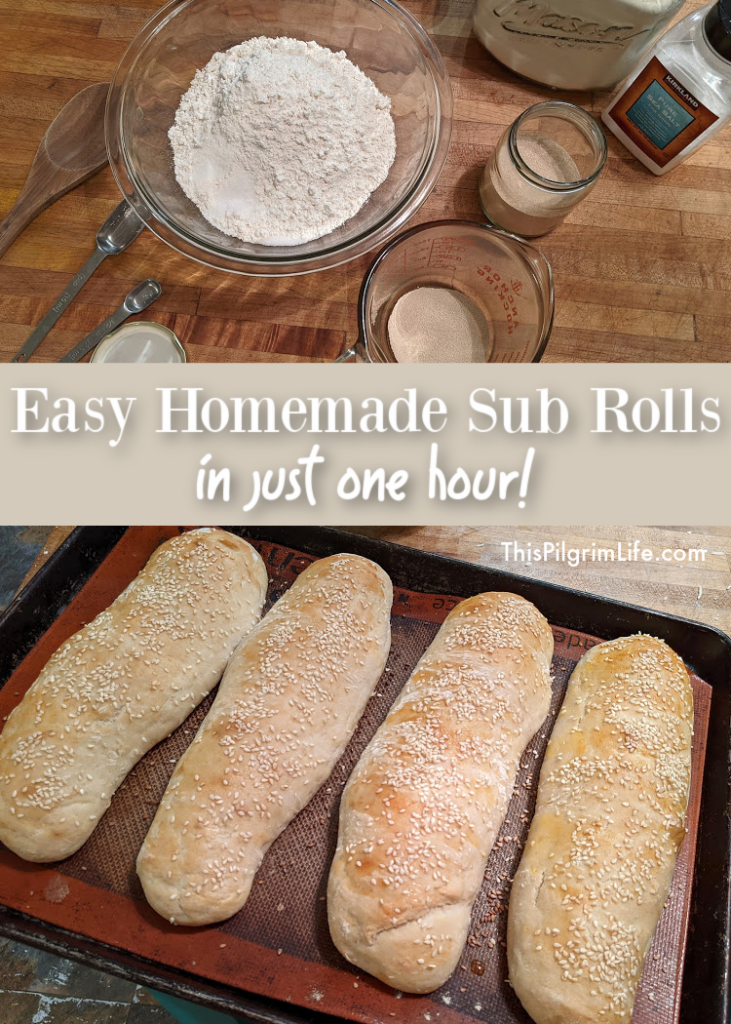 These easy sub rolls can be made from scratch in just one hour! They're perfect for sandwiches like French dips, meatball subs, and more!