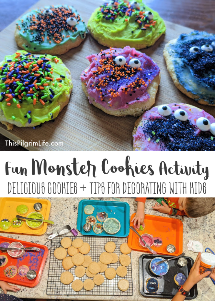 Delicious frosted tea cakes decorated with fun colors and toppings to make spooky monster cookies!