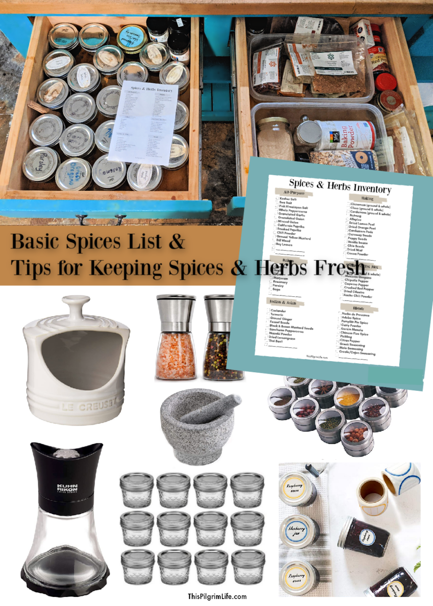Keeping basic spices and herbs stocked in your kitchen yields easier and tastier cooking! Check out this printable spices list and tips for keeping your spices and herbs fresh and optimal.