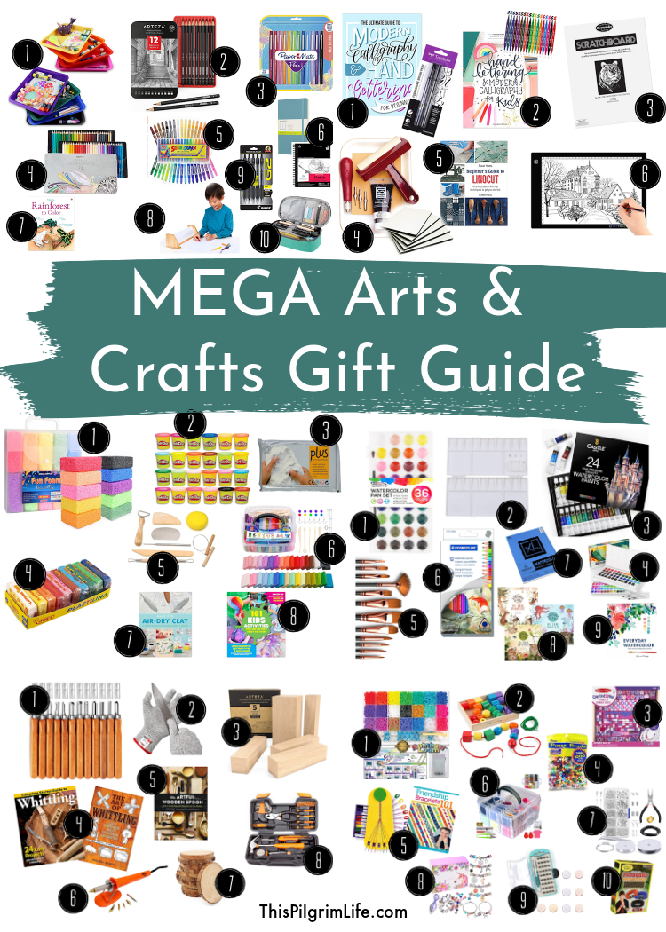 More than 75 craft ideas for anyone creative on your list! This craft gift guide is FULL of fine arts, textiles, preschool crafts, woodworking, and MORE!