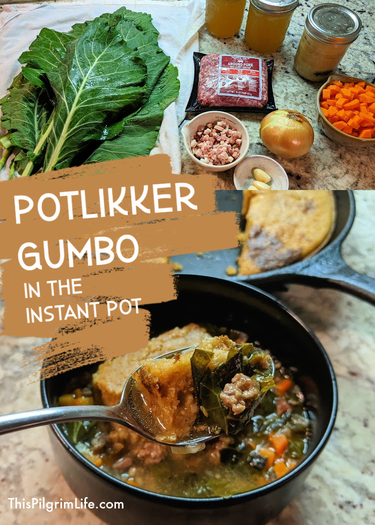 This potlikker gumbo is a savory soup with such a rich flavor thanks to the collards and three types of pork! It's also full of nutrition thanks (again) to the collards and chicken stock. So perfect topped with tender cornbread!