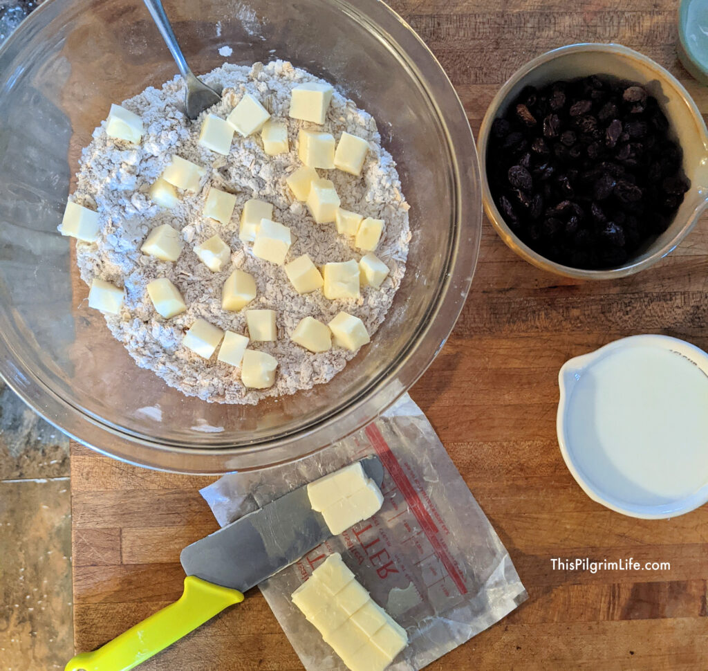 Cut the butter into cubes and add to dry mix.