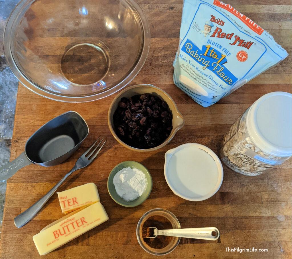 Ingredients for the cinnamon raisin drop biscuits.