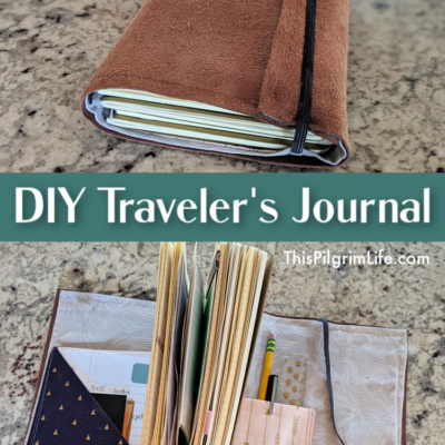 Step-by-step instructions with pictures to make a DIY traveler's journal cover with pockets and bands for three to five notebooks!