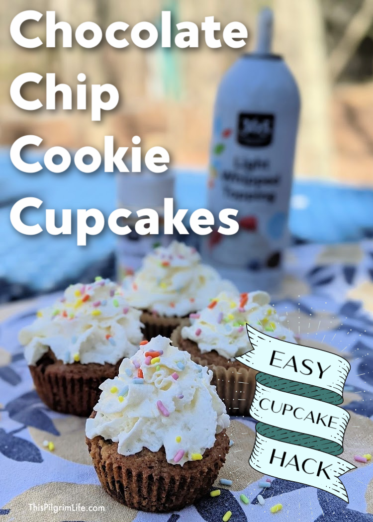 These chocolate chip cookie cupcakes are a breeze to make and ridiculously simple with their whipped cream topping and sprinkles. It makes a great cupcake hack for a sweet snack to enjoy with friends or a simple birthday party treat!